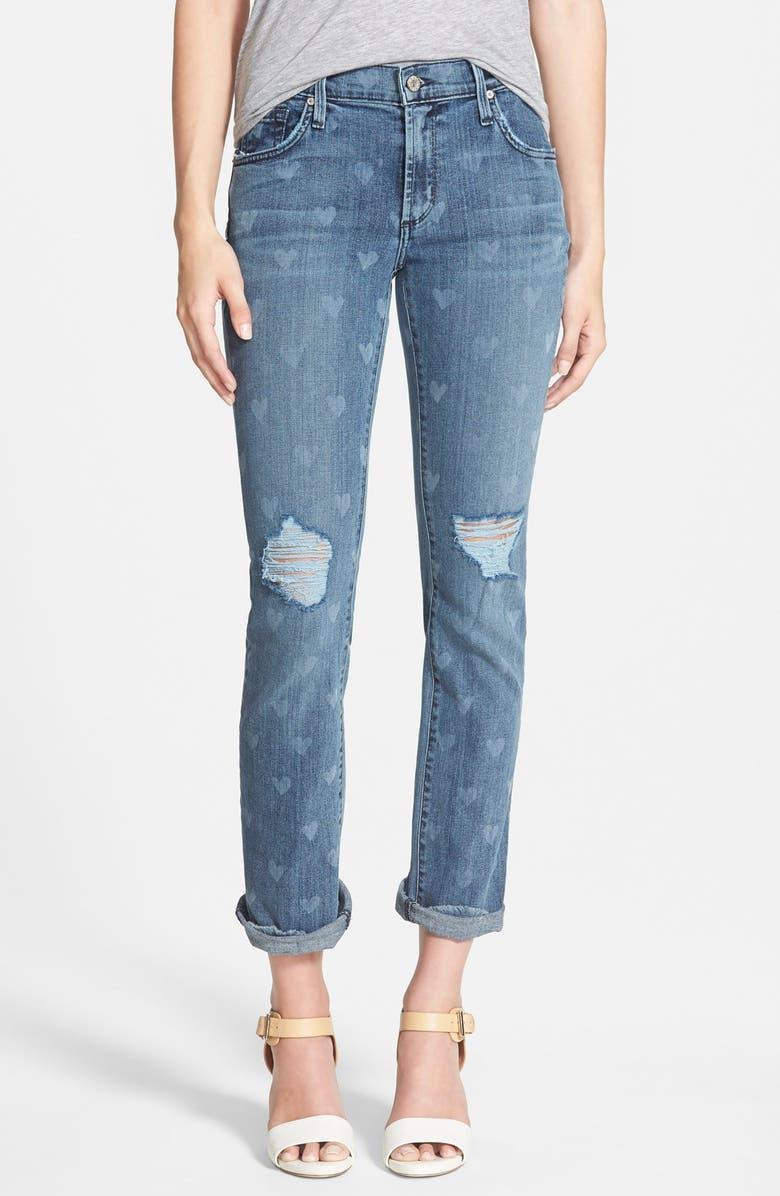 JAMES JEANS Heart Print Slouchy Straight Leg Jeans, Main, color, 400