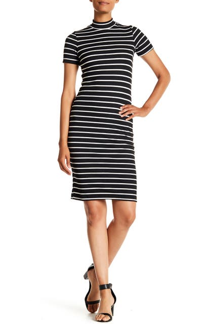 Image of Velvet Torch Stripe Mock Neck Knit Dress