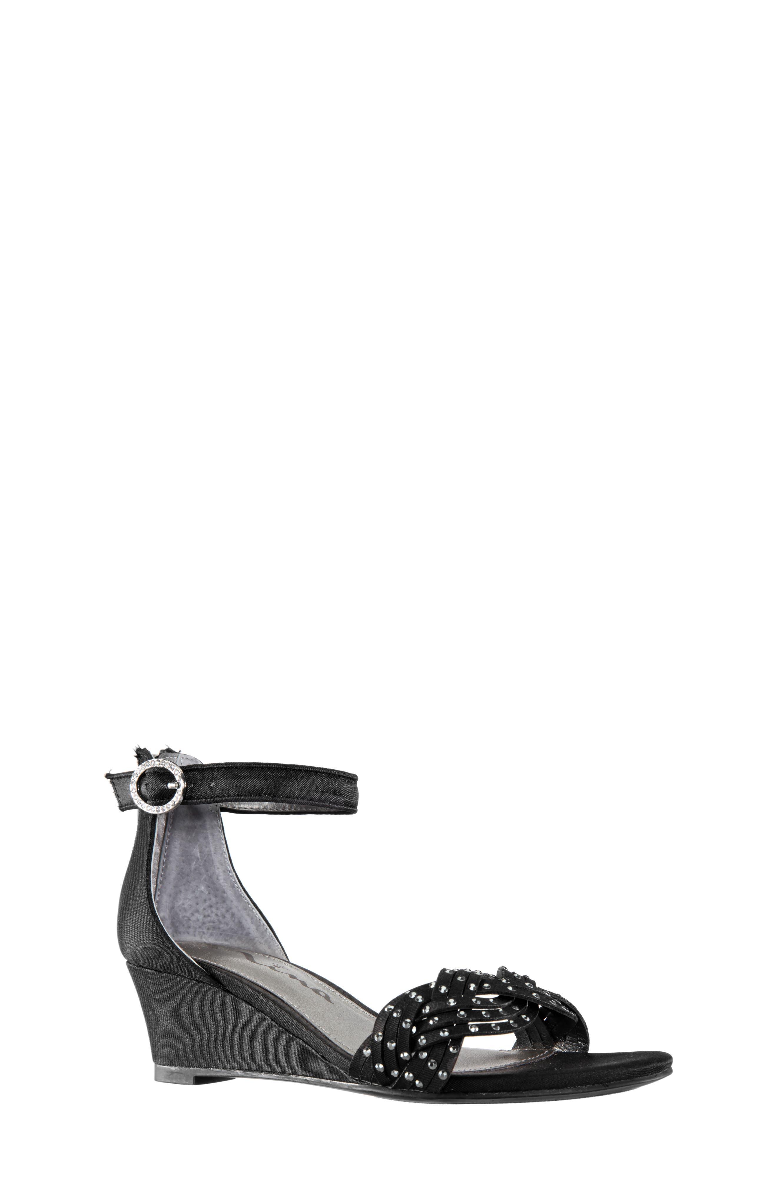 Girls Nina Marlean Wedge Sandal Size 2 M  Black