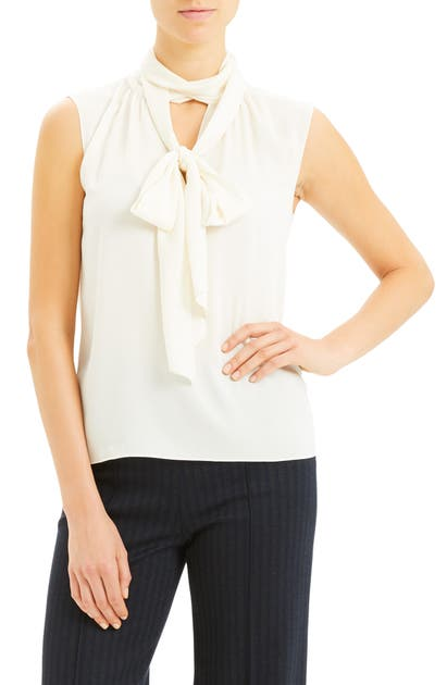 Theory Tops SCARF TIE SLEEVELESS STRETCH SILK BLOUSE