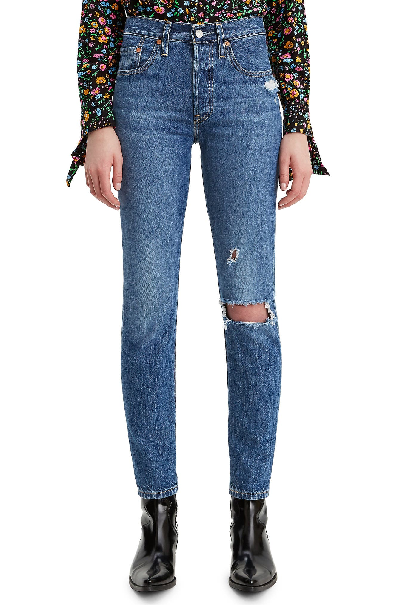 women's levi's 501 ripped high waist ankle skinny jeans