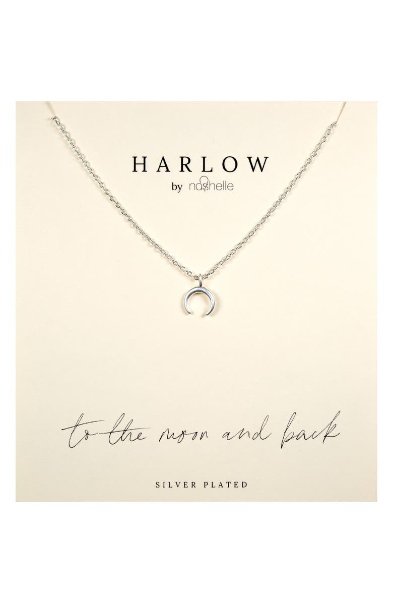 NASHELLE HARLOW by Nashelle Crescent Moon Boxed Necklace, Main, color, SILVER
