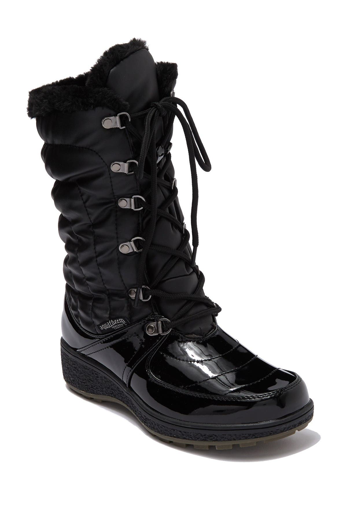 Image of Aquatherm by Santana Canada Courtmid Quilted Faux Fur Lined Lace Up Winter Boot
