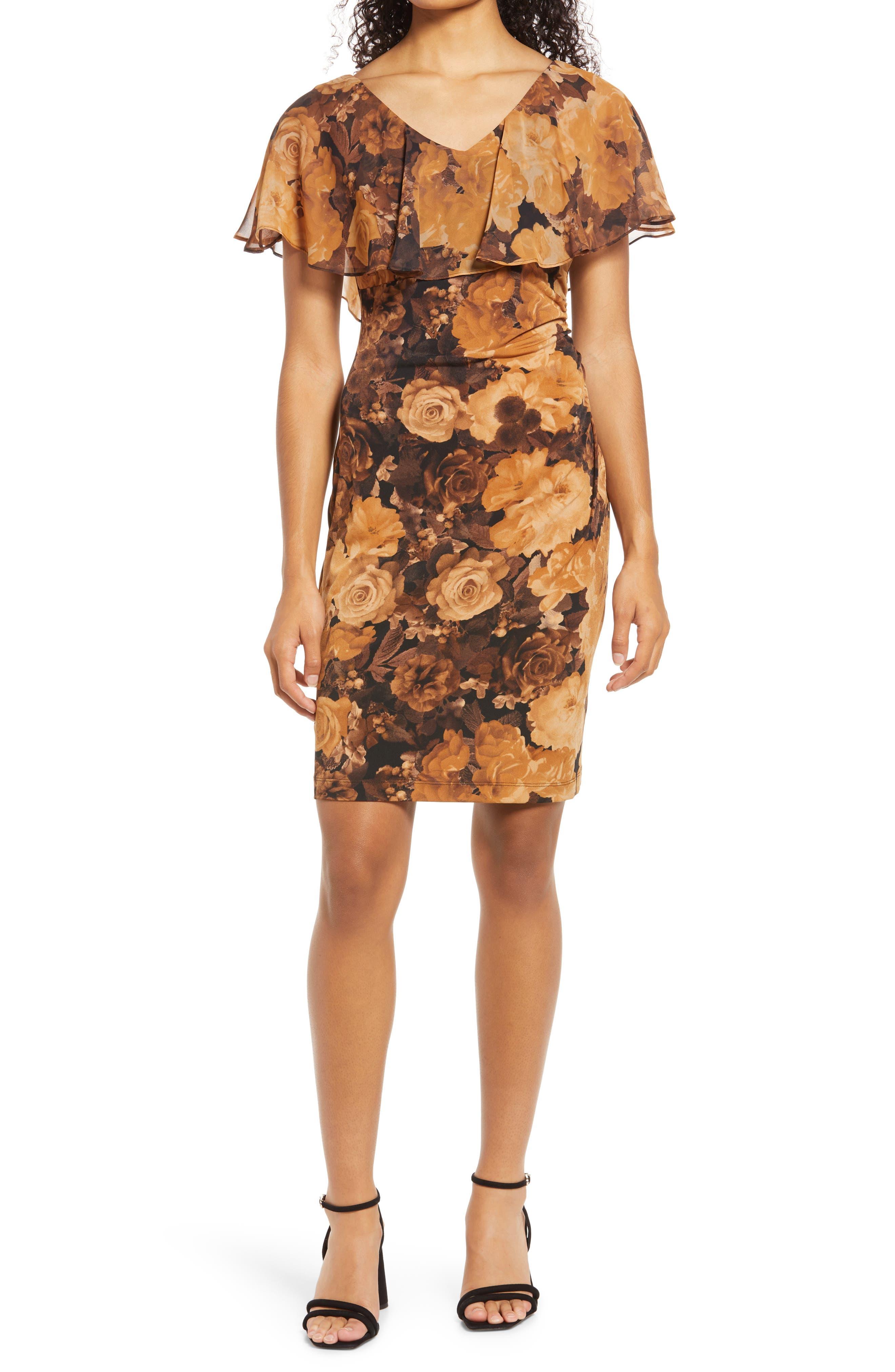 Floral Cape Sleeve Sheath Dress