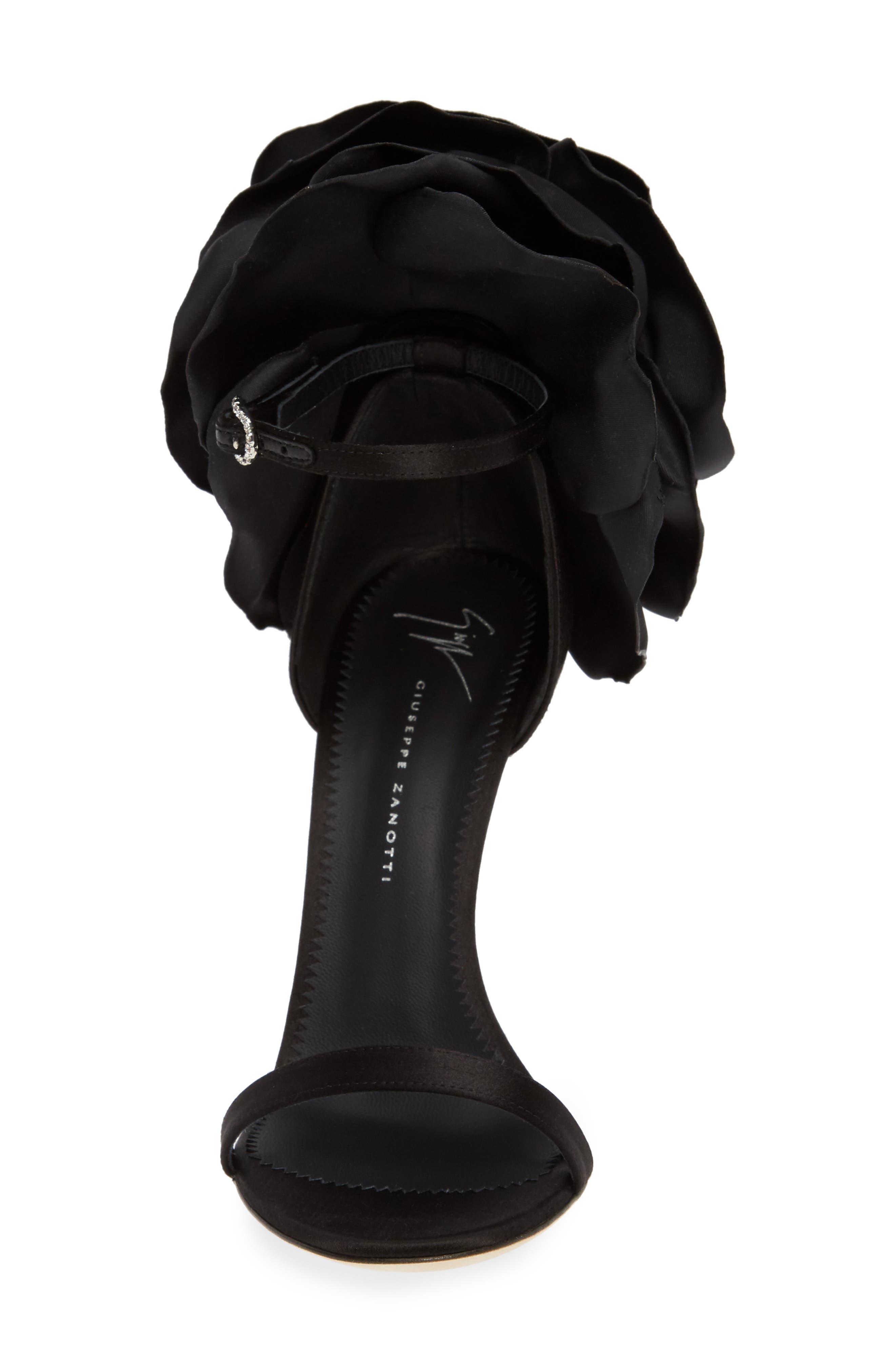 ,                             Blooming Flower Ankle Strap Sandal,                             Alternate thumbnail 4, color,                             BLACK