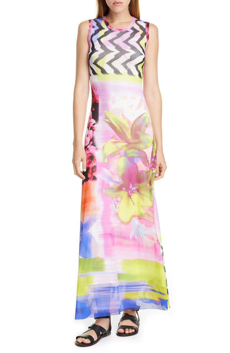 FUZZI Floral & Chevron Print Maxi Dress, Main, color, FIORE