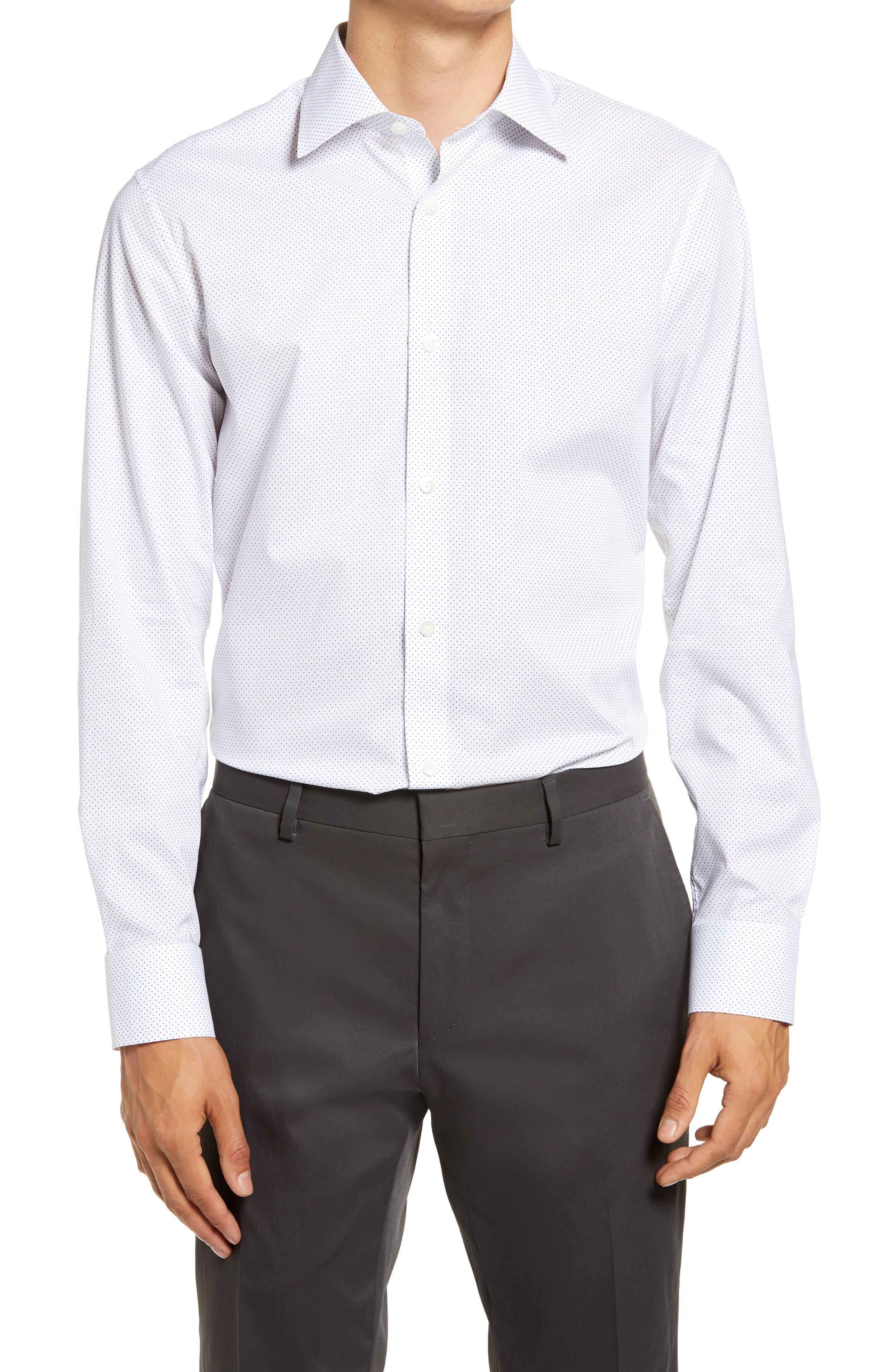 Jetsetter Slim Fit Dot Stretch Dress Shirt