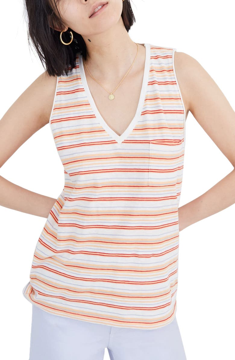 MADEWELL Fieldgate Stripe Whisper Cotton V-Neck Pocket Tank, Main, color, PEARL IVORY FRISBEE STRIPE