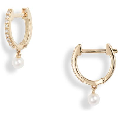 Ef Collection Pearl & Diamond Huggie Hoops