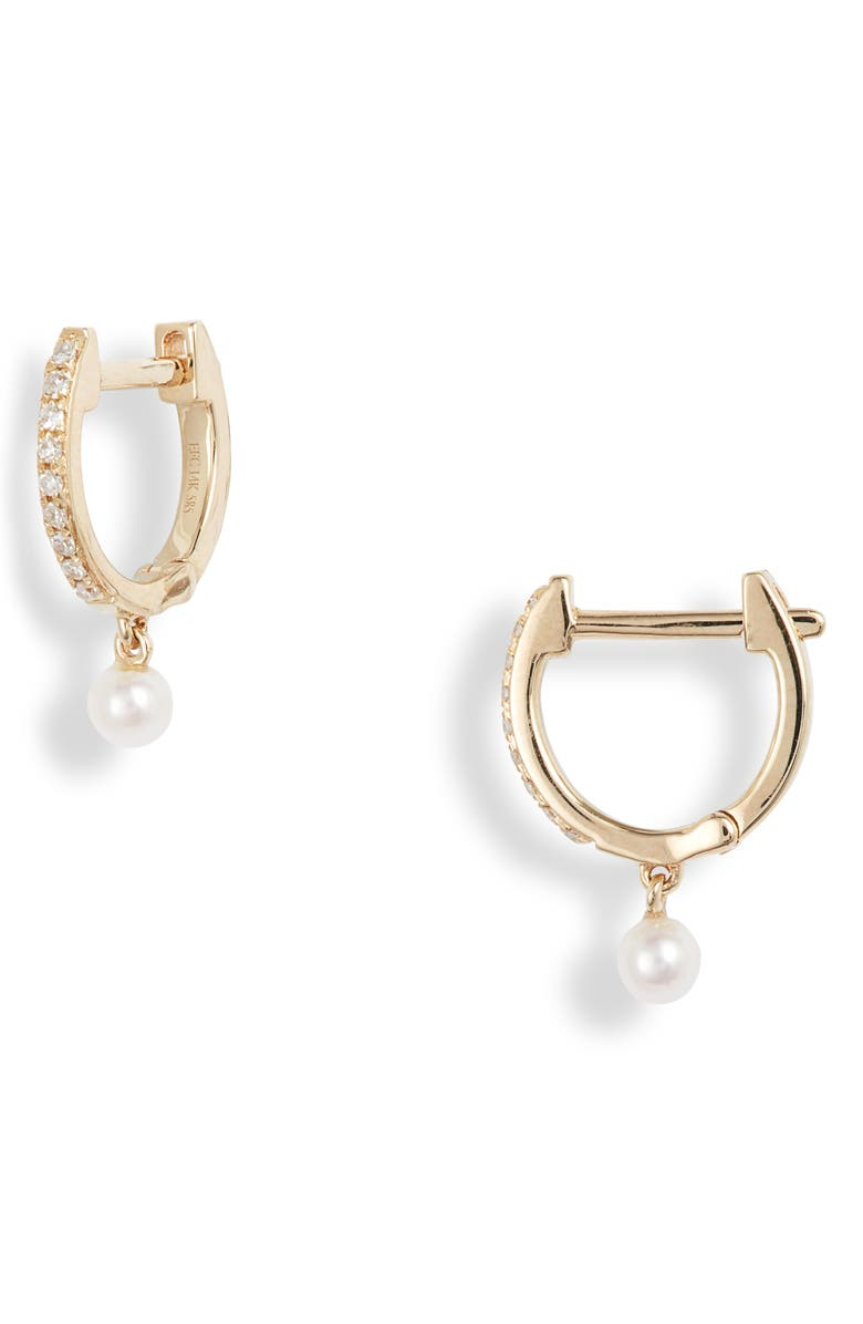 EF COLLECTION Pearl & Diamond Huggie Hoops, Main, color, YELLOW GOLD/ PEARL