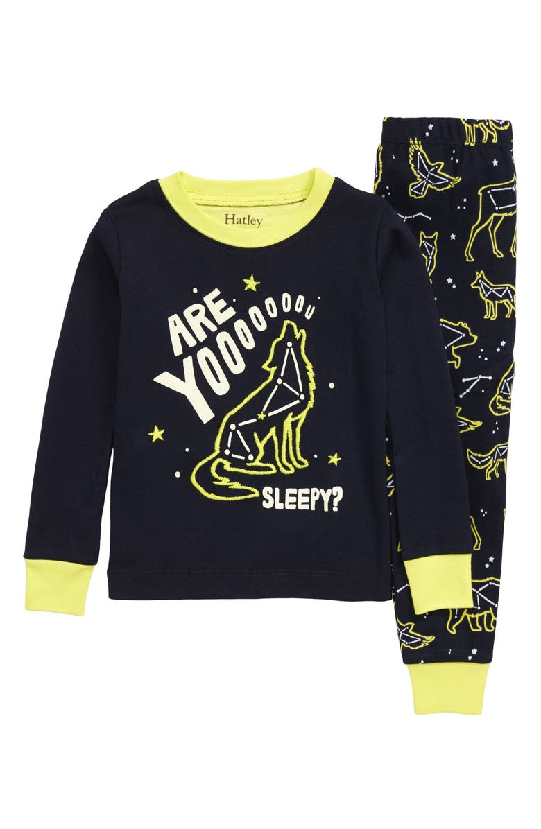 HATLEY Wild Constellations Glow in the Dark Fitted Organic Cotton Two-Piece Pajamas, Main, color, BLUE
