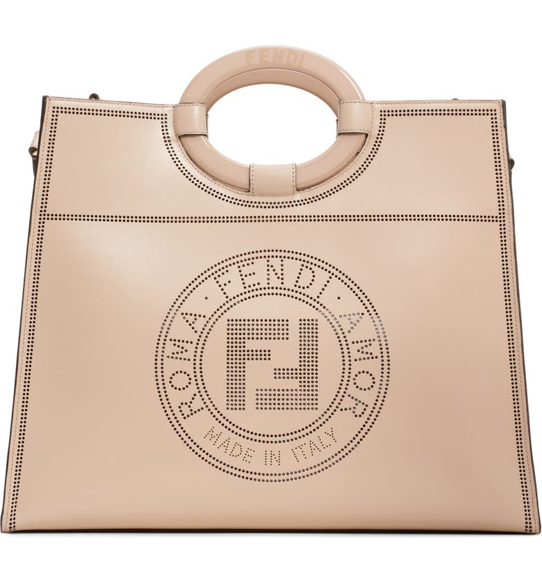 FENDI Medium Runaway Perforated Leather Shopper, Main, color, CLOUD/ SOFT GOLD
