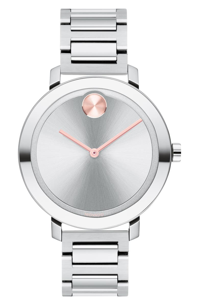 MOVADO Bold Bracelet Watch, 34mm, Main, color, SILVER/ ROSE GOLD
