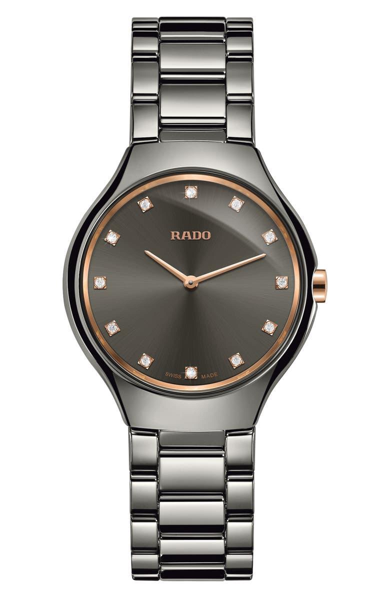 RADO True Thinline Diamond Ceramic Bracelet Watch, 30mm, Main, color, 040