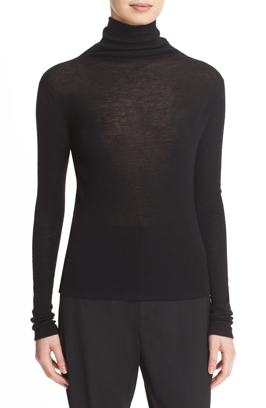 Lightweight Wool Funnel Neck Sweater, Main, color, 001