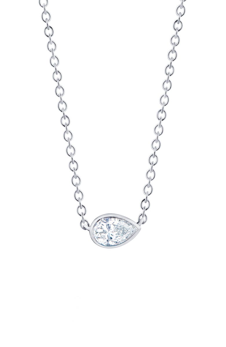 KWIAT Pear Diamond Pendant Necklace, Main, color, WHITE GOLD