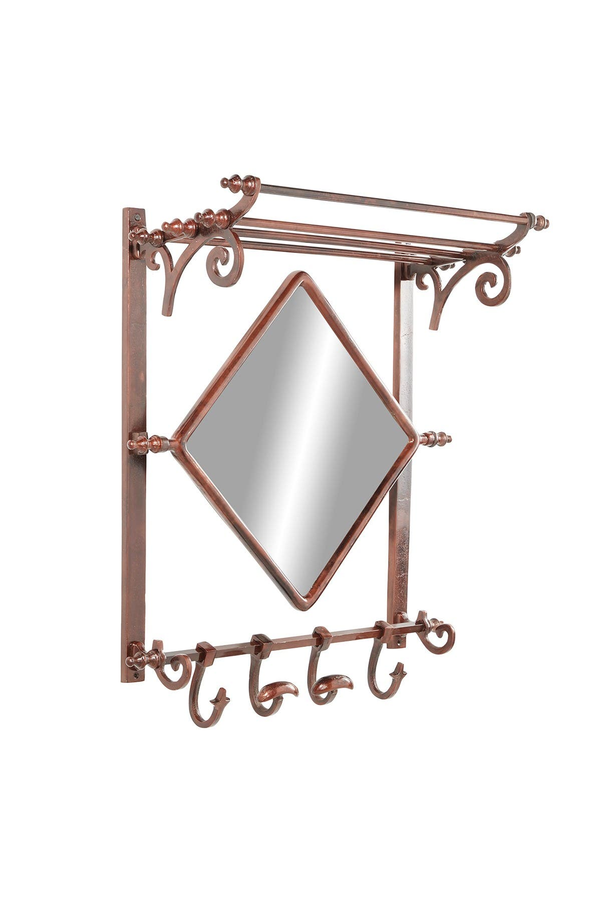 "Image of Willow Row Copper Bathroom Wall Rack with Hooks and Mirror - 25"" x 28"""