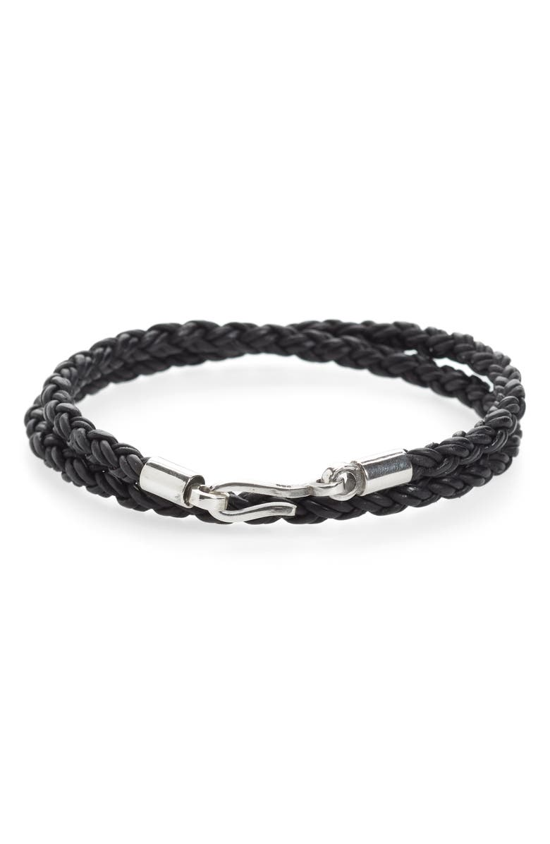 CAPUTO & CO. Braided Leather Wrap Bracelet, Main, color, 001