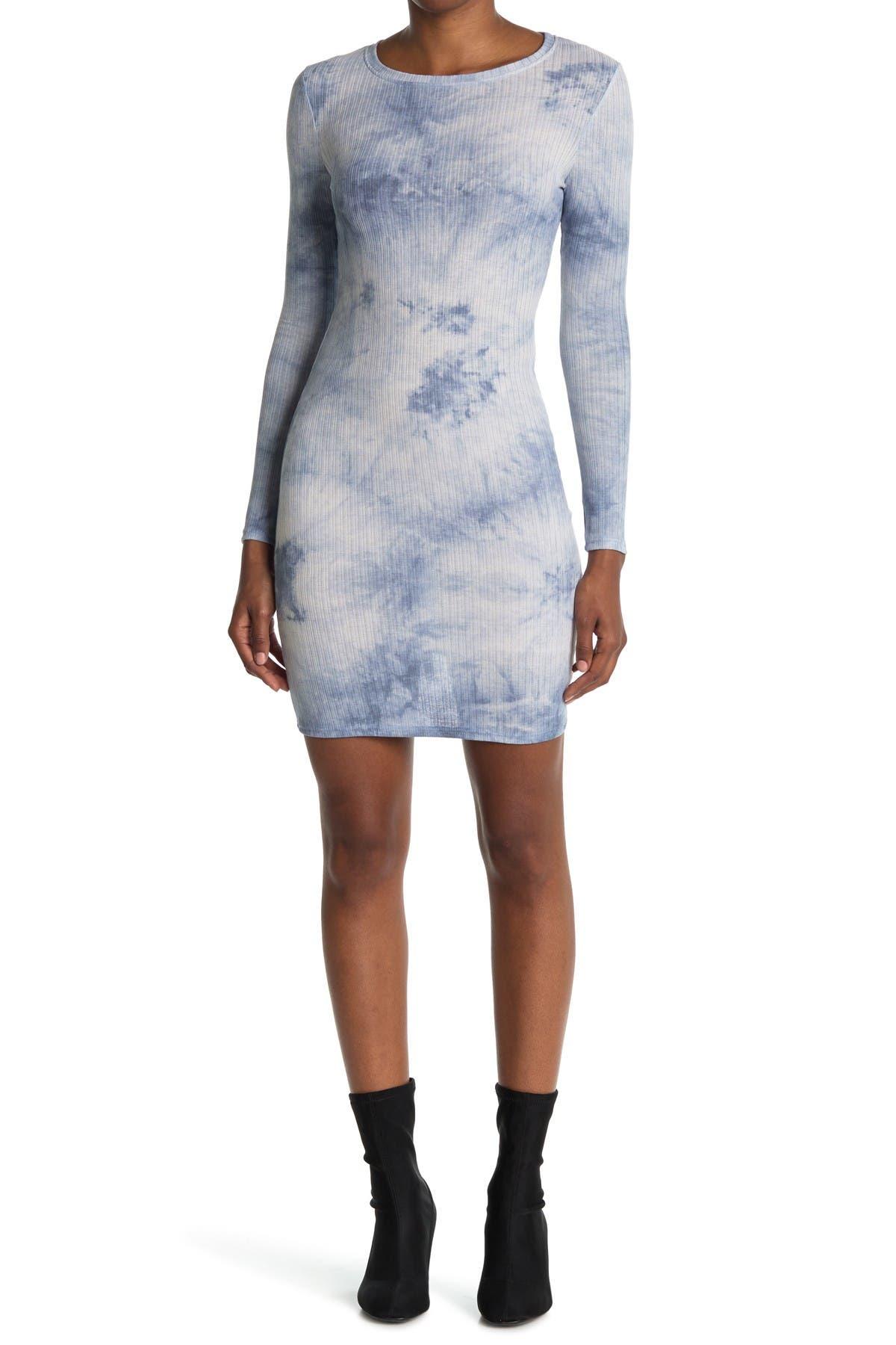 Image of Velvet Torch Tie Dye Ribbed Long Sleeve Mini Dress