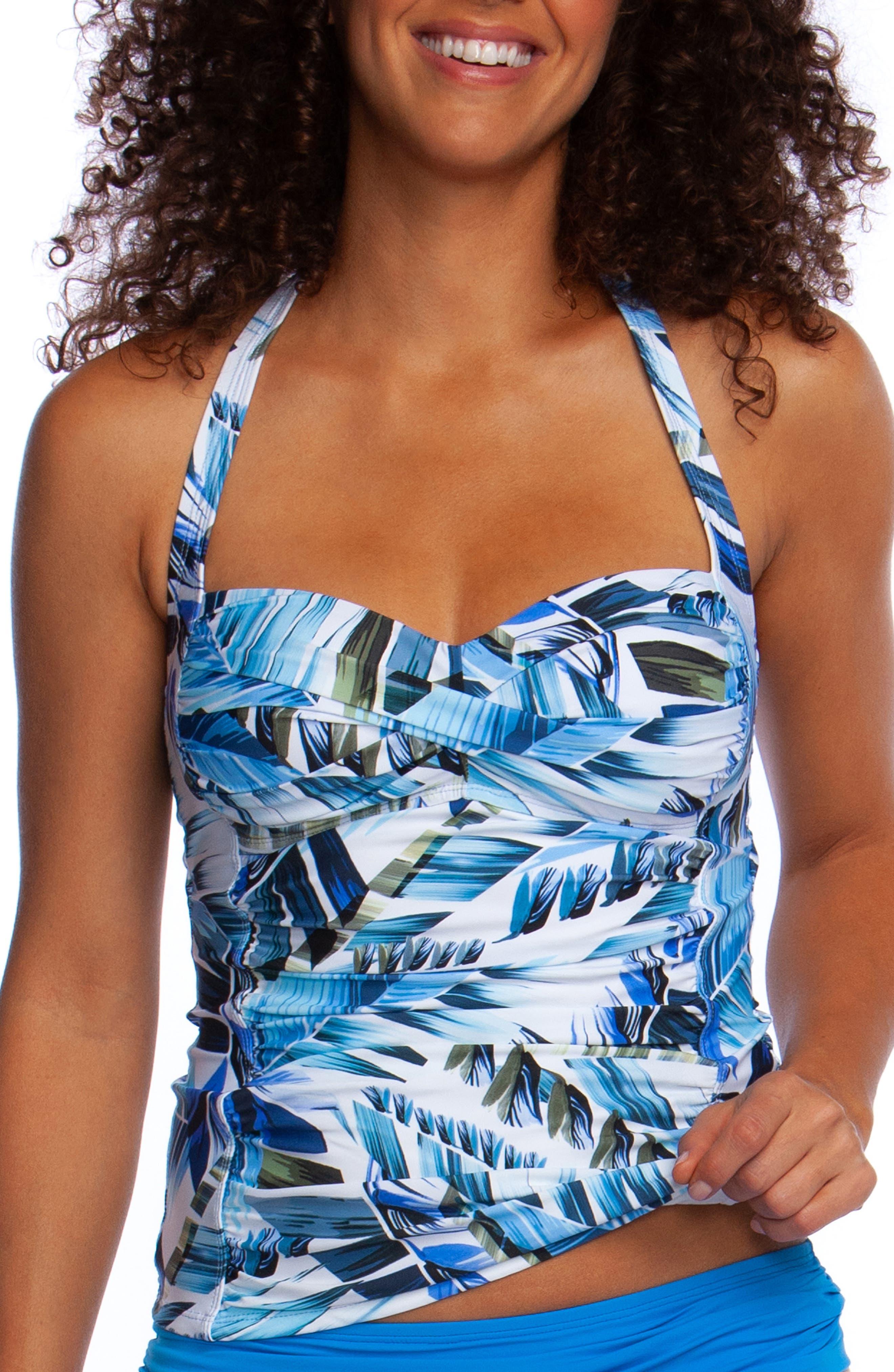 Plus Size La Blanca Two Cool Halter Tankini Top, Blue
