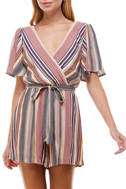 Image of ROW A Striped Woven Romper