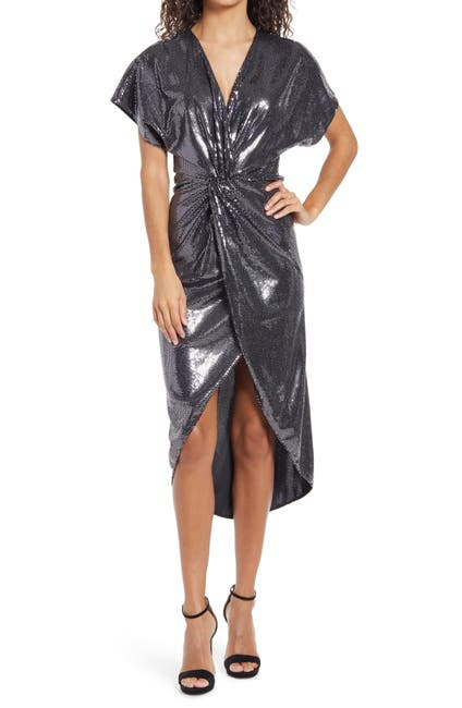 Image of Saylor Roslynn Sequin Cross Front High/Low Dress