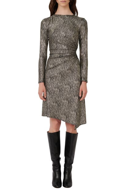 Maje METALLIC LONG SLEEVE GATHERED SIDE CUTOUT DRESS