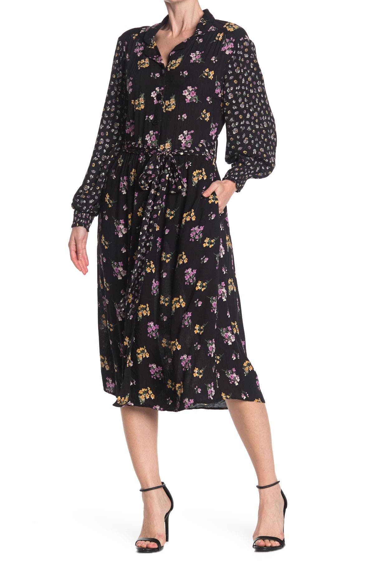 Image of Angie Button Front Floral Printed Midi Dress