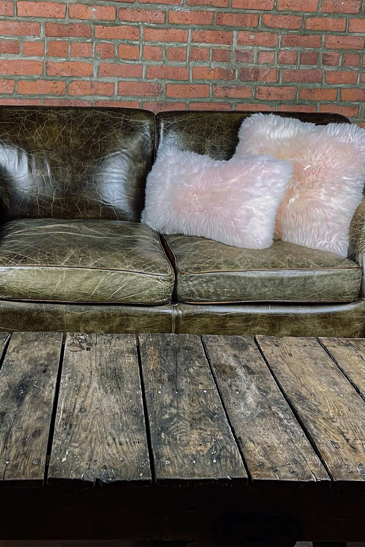 "Image of Natural New Zealand Genuine Sheepskin Pillow - 18"" X 18"" - Blush - Set of 2"