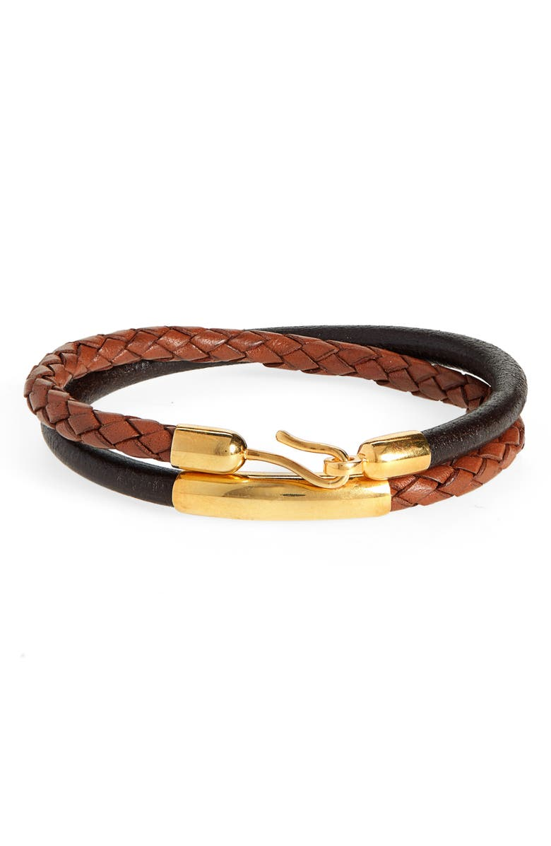 CAPUTO & CO. Braided Leather Wrap Bracelet, Main, color, TAN/ GOLD PLATED BRASS