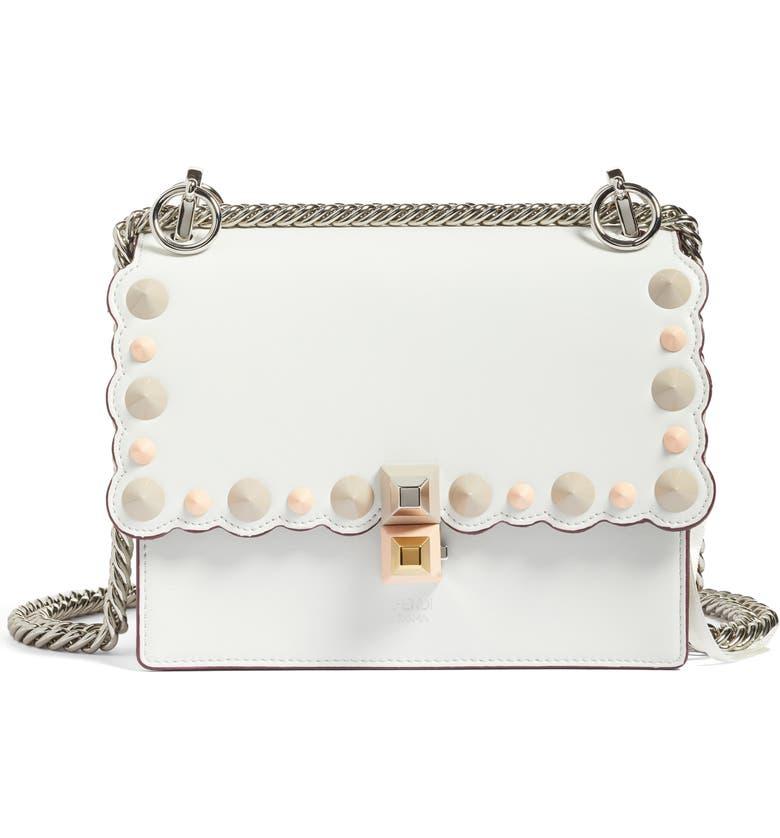 FENDI Small Kan I Scallop Leather Shoulder Bag, Main, color, WHITE ICE/MULTI/PALLADIUM