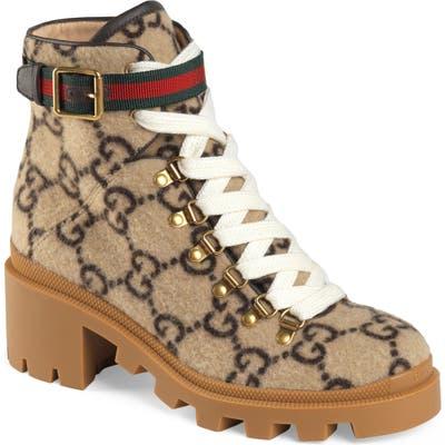 Gucci Trip Gg Monogram Wool Combat Boot, Beige