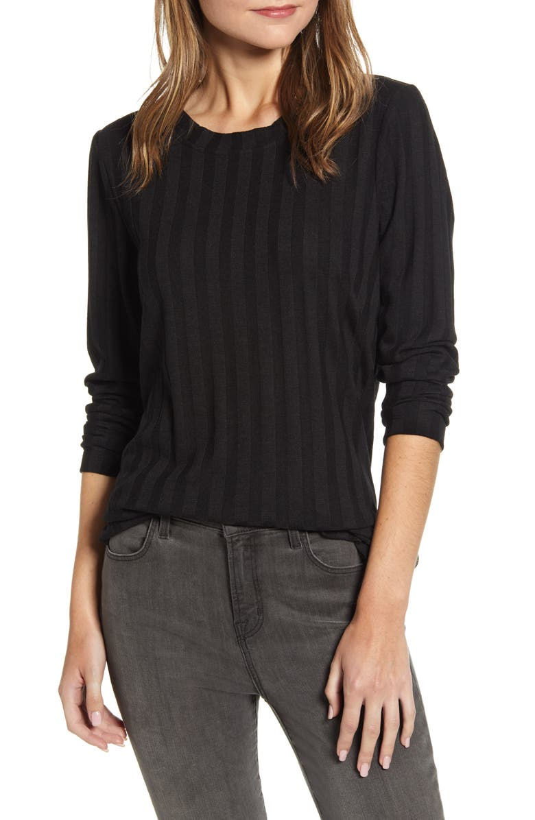BOBEAU Wide Rib Tunic, Main, color, BLACK