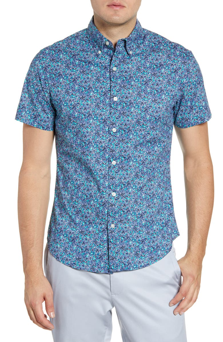 BONOBOS Riviera Slim Fit Floral Short Sleeve Button-Down Shirt, Main, color, GARDEN FLORAL - RAINSTORM
