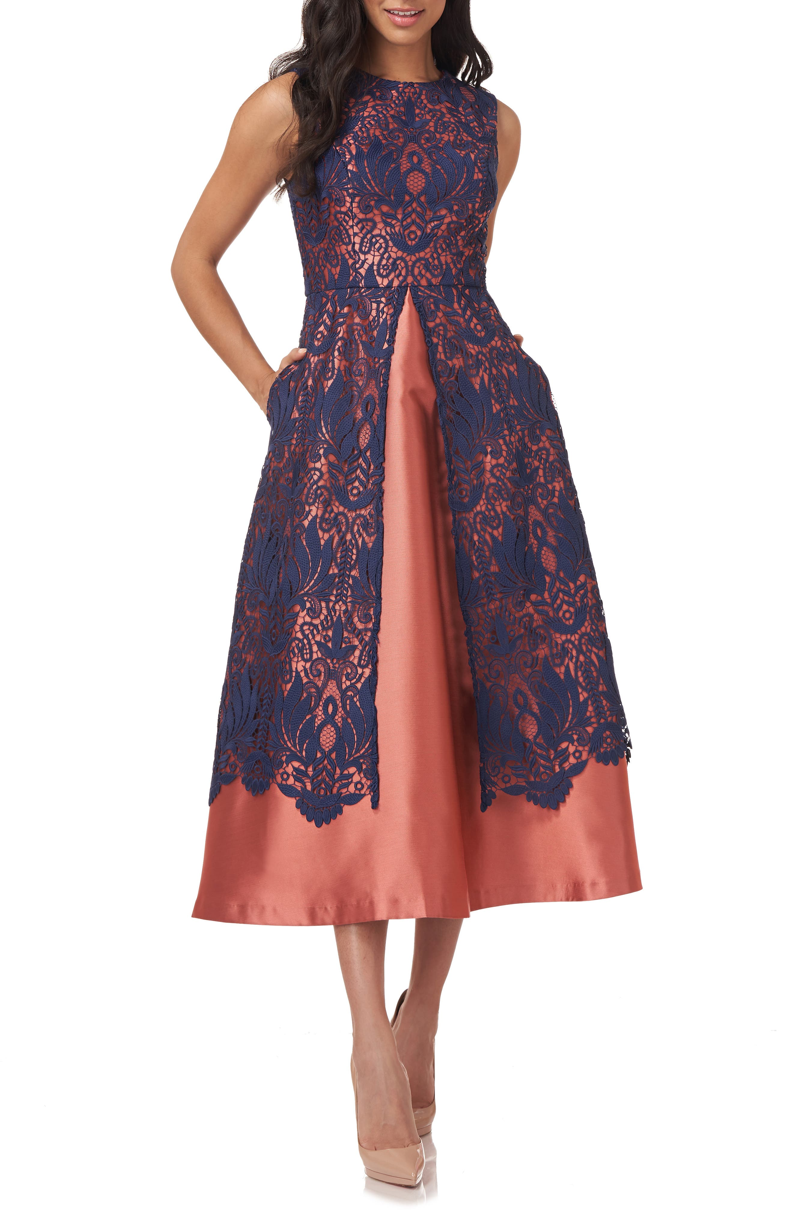 Claudia Lace Overlay Twill Cocktail Dress
