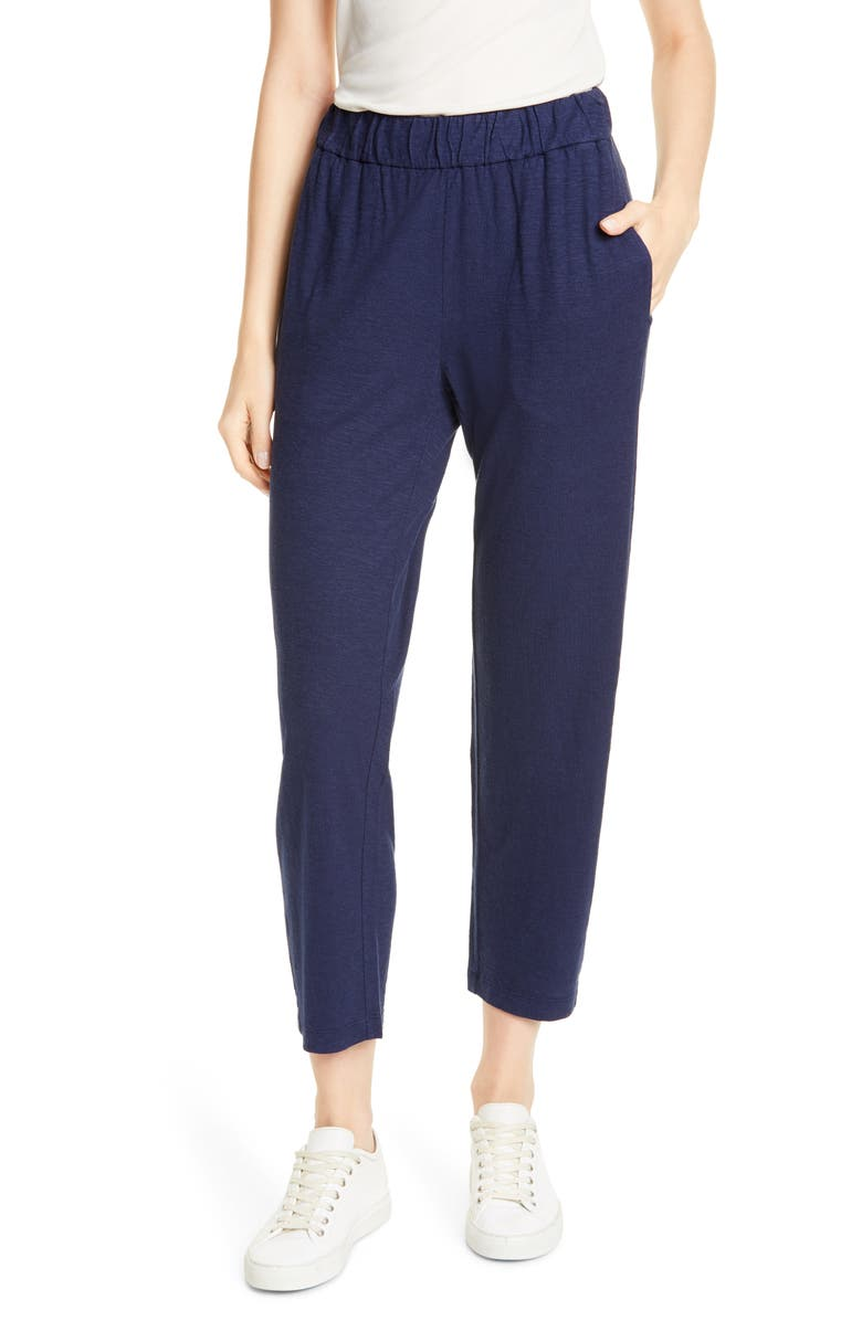 EILEEN FISHER Hemp & Organic Cotton Tapered Ankle Pants, Main, color, MIDNIGHT