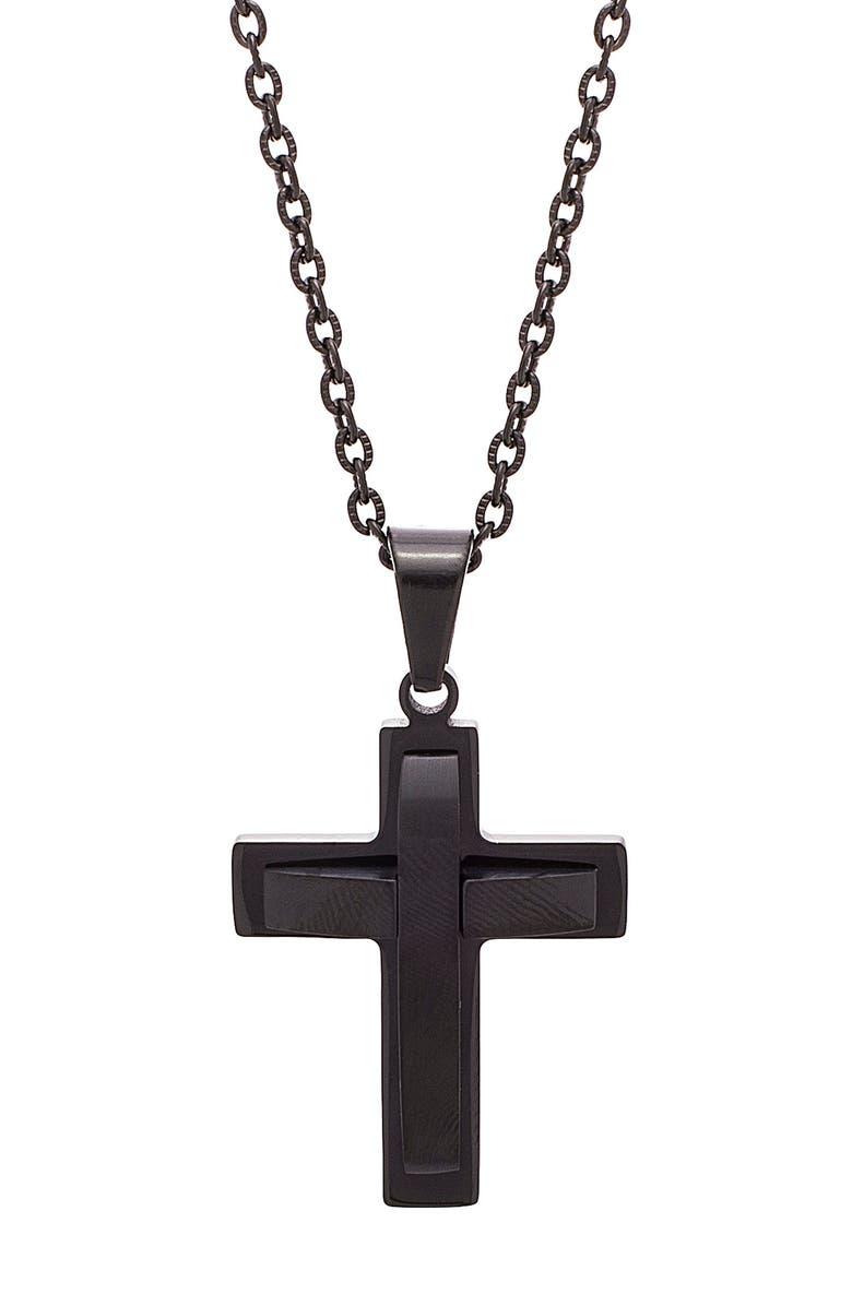 STEVE MADDEN Cross Pendant Necklace, Main, color, BLACK