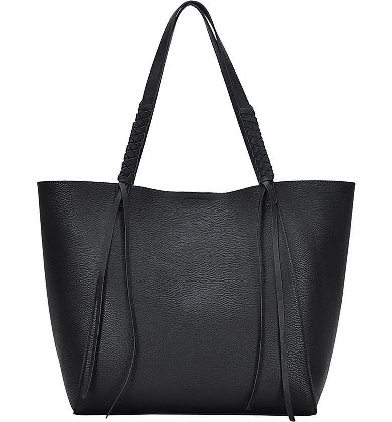 ANTIK KRAFT Knotted Strap Faux Leather Tote, Main, color, 001