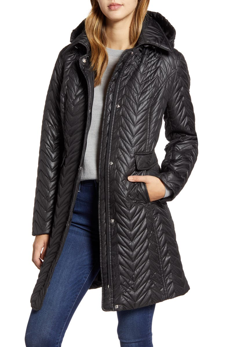 VIA SPIGA Chevron Quilted Water Resistant Coat, Main, color, BLACK