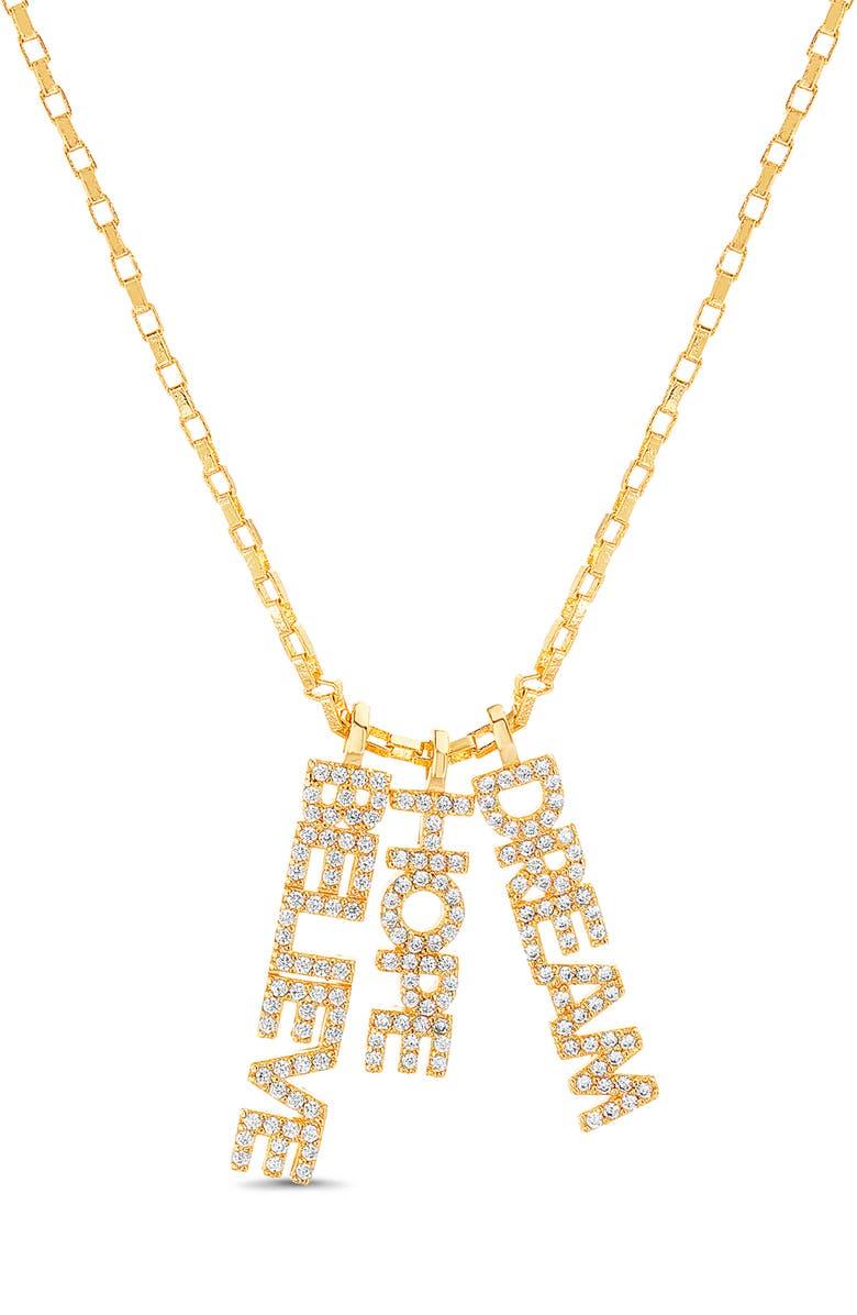 LESA MICHELE Believe Hope Dream Pendant Necklace, Main, color, YELLOW GOLD