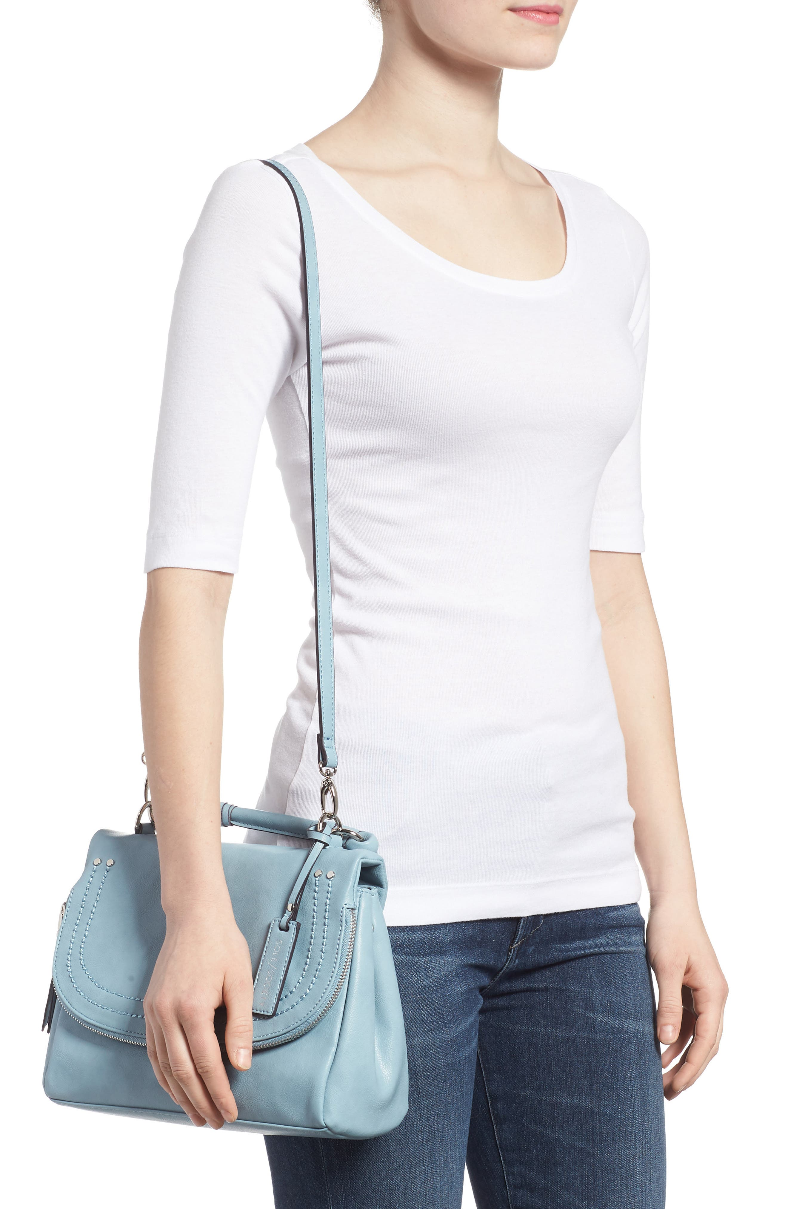 ,                             Top Handle Faux Leather Crossbody Bag,                             Alternate thumbnail 14, color,                             409