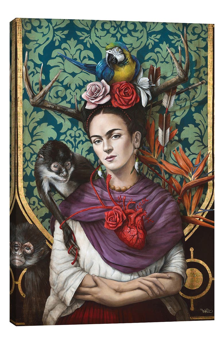 ICANVAS Hommage a Frida by Sophie Wilkins Giclée Print Canvas Art, Main, color, GREEN