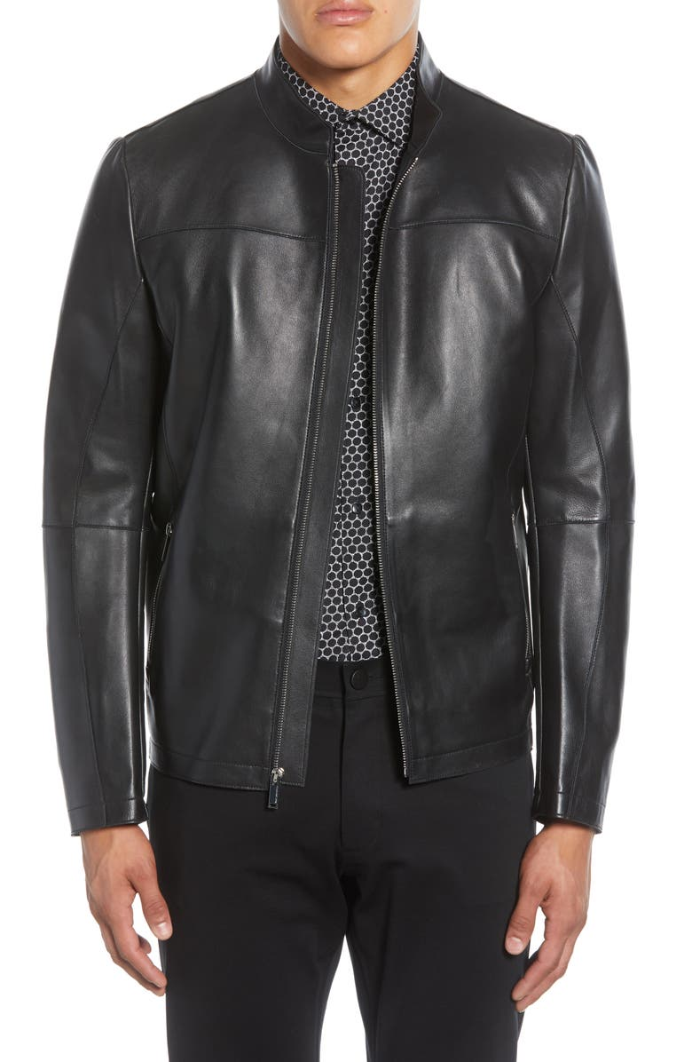 KARL LAGERFELD PARIS Bonded Leather Racing Jacket, Main, color, BLACK