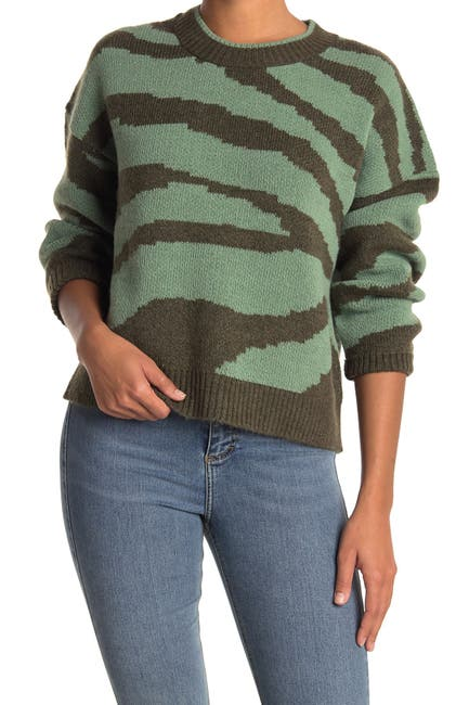 Image of ONLY Tiger Stripe Knit Pullover Sweater