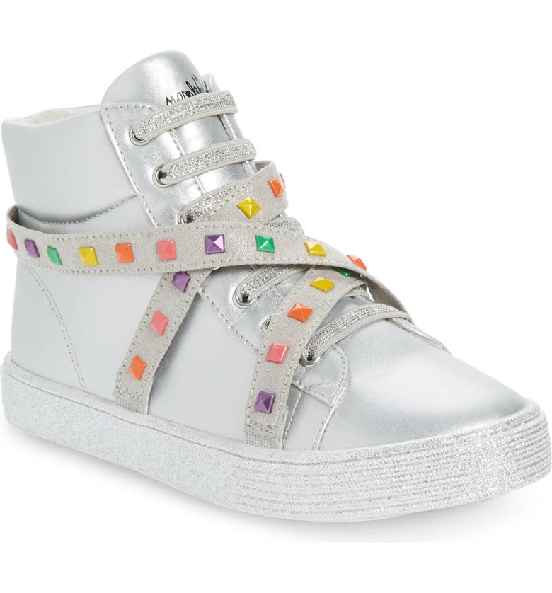 SAM EDELMAN Bella Iliana Studded Metallic High Top Sneaker, Main, color, SILVER