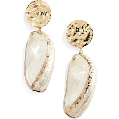 Ettika Oval Shell Drop Earrings