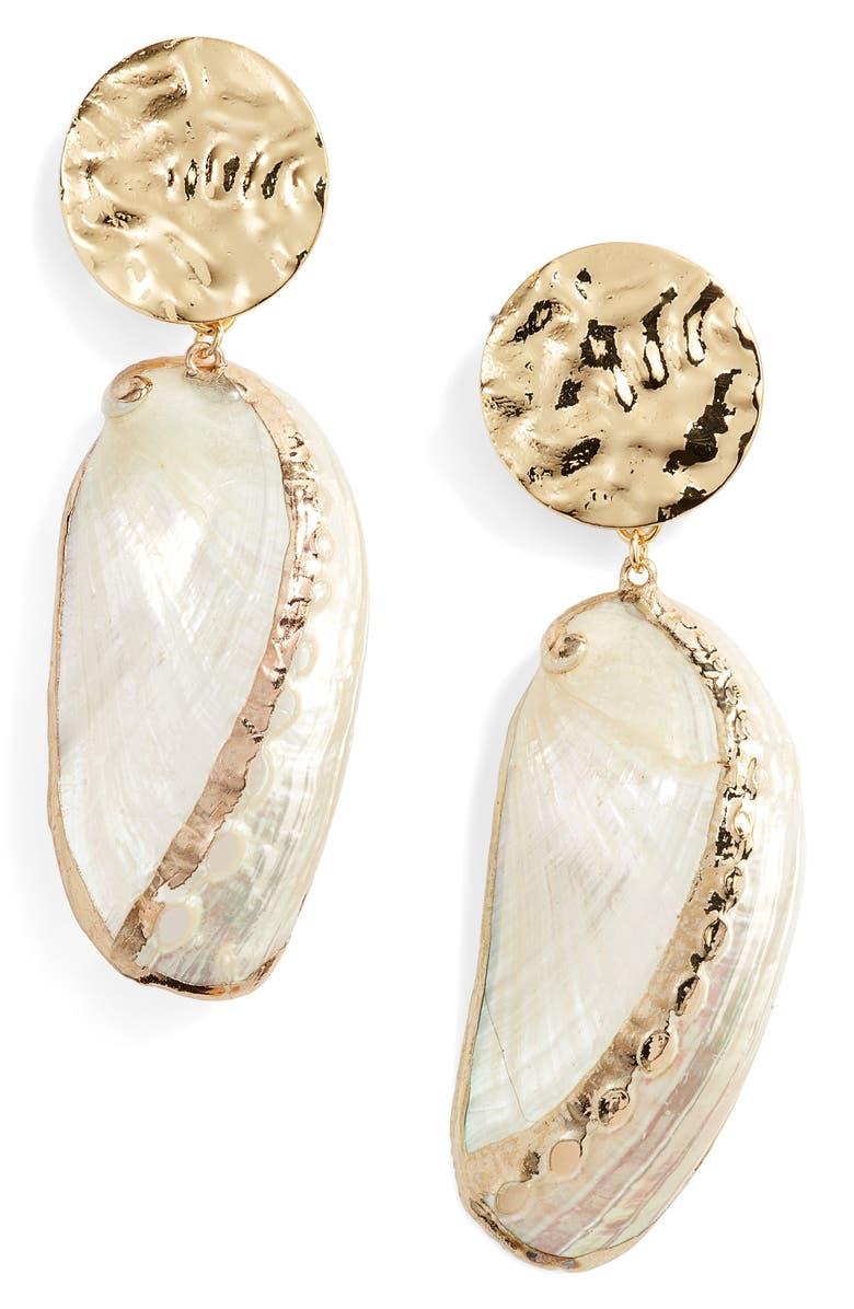 ETTIKA Oval Shell Drop Earrings, Main, color, GOLD