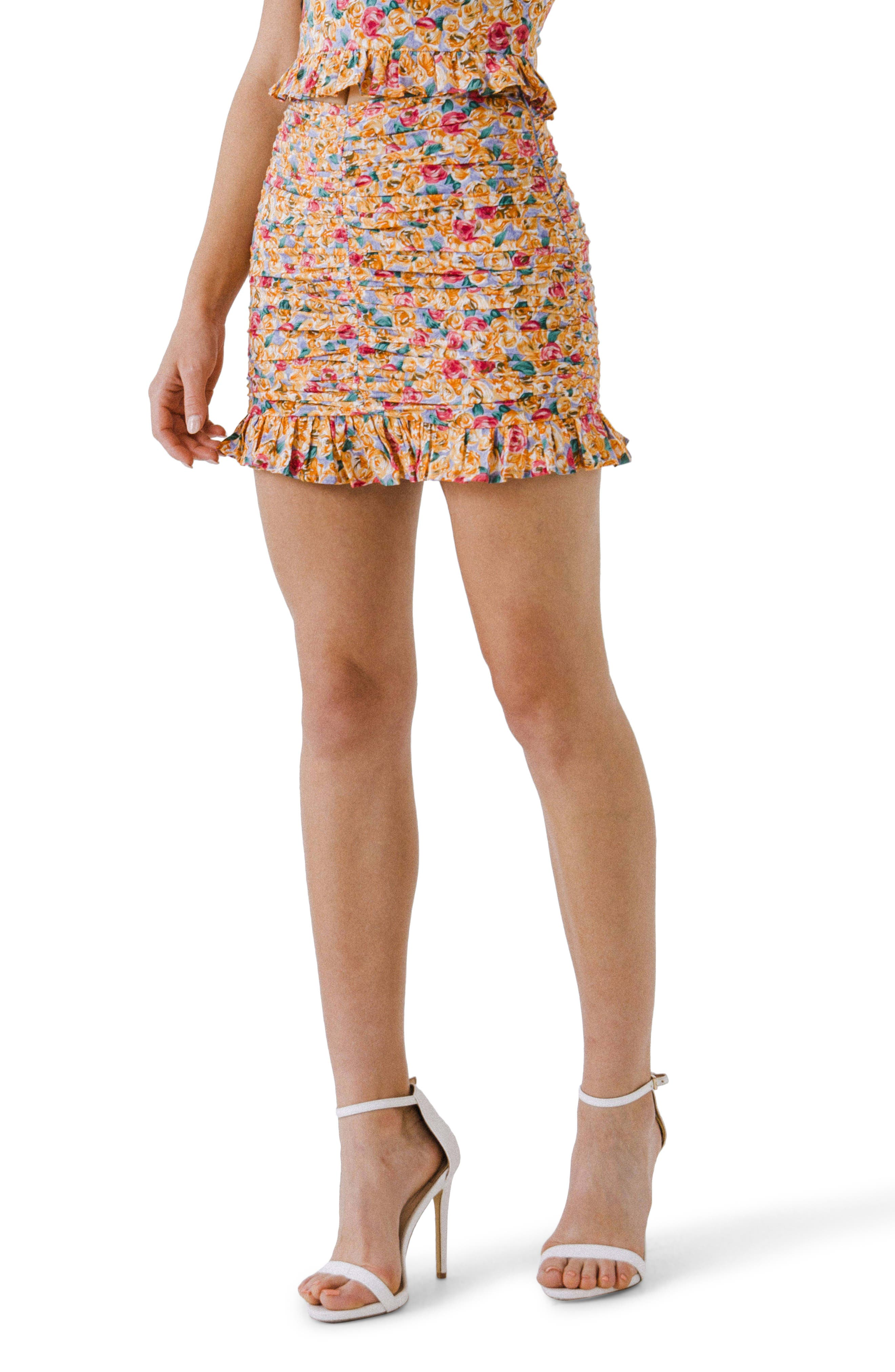 Floral Ruched Miniskirt