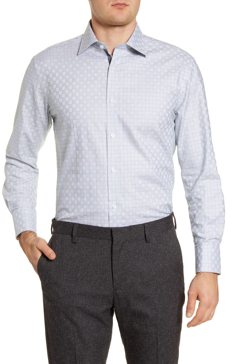 ENGLISH LAUNDRY Regular Fit Check Dress Shirt, Main, color, GREEN