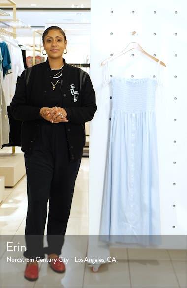 Lou Stripe Chambray Smocked Bodice Strapless Midi Dress, sales video thumbnail